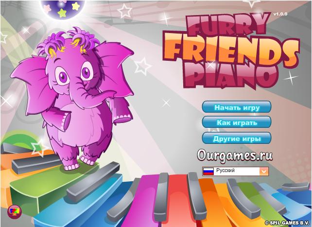 Музична гра онлайн, Пухнасті друзі піаніно